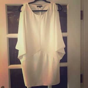 White crepe fitted mini dress